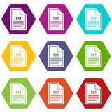 File TXT icon set color hexahedron. File TXT icon set many color hexahedron isolated on white vector illustration Royalty Free Stock Images
