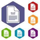 File TXT icons set. Rhombus in different colors isolated on white background Royalty Free Stock Photography