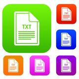 File TXT set collection. File TXT set icon in different colors isolated vector illustration. Premium collection Royalty Free Stock Image