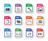 File type black icons as labels - graphics, coding. Web file types icons set - jpg, psd, html, css Stock Image