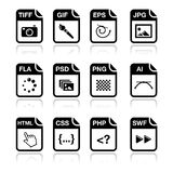 File type black icons - graphic and web design. Web file types icons set - jpg, psd, html, css Royalty Free Stock Images