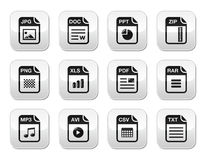 File type black icons on modern grey buttons set. Popular internet file types icons set - zip, pdf, jpg, doc Stock Images