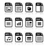 File type black icons with shadow set - zip, pdf,. Popular internet file types icons set Stock Image
