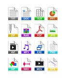 File type icon. Set of file extension icons isolated on white background Stock Image