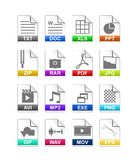 File type icon. Set of file extension icons isolated on white background Stock Photos