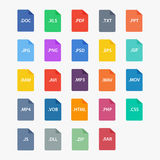 File type icon. File extensions vector illustration. File type in flat style. Document types. File type symbol. File formats sign. Popular file type. File Stock Photography