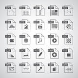 File type icon set. On gray background Stock Images