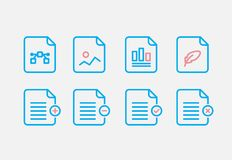File Type Icon set. Simple Set of File Formats Vector Line Icons. Line style. EPS 10 Stock Image