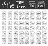 File type icon vector hand drawn set line art illustration Stock Images