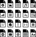 File type icons. Icons for various file types, black on white background Royalty Free Stock Photo