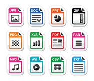 File type icons as labels set - zip, pdf, jpg, doc. Popular internet file types icons set Stock Images