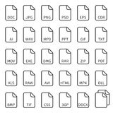File type icons. File type icons set. Simple flat style file types. Vector illustration EPS 10 Royalty Free Stock Photos