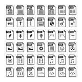 File type icons. Files format icon set in black and white. Software symbols buttons Stock Image