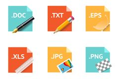 File type icons.. File type icons. Material design and long shadow style Stock Photos