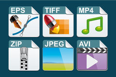 File type  icons. Set of File type  icons Royalty Free Stock Image