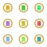 File type icons set, cartoon style. File type icons set. Cartoon style set of 9 file type vector icons for web design Stock Images