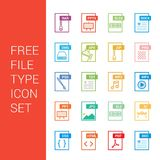File type icons set vector. For web design and application interface, also useful for infographics. Vector illustration Royalty Free Stock Image