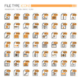 File Type Icons. Thin Line and Pixel Perfect Icons royalty free illustration