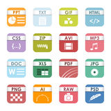 File type icons vector set. Simple vector square file types and formats labels icon set. File type format icons presentation document symbol. Audio extension Stock Photos