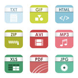 File type icons vector set. Simple vector square file types and formats labels icon set. File type format icons presentation document symbol. Audio extension Stock Photo