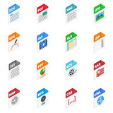 File Types icons, isometric 3d style Royalty Free Stock Image