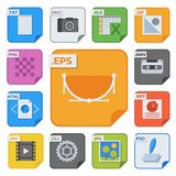 File types vector icons and formats labels file system icons presentation document symbol application software folder. Illustration. Archive, illustration Stock Photo