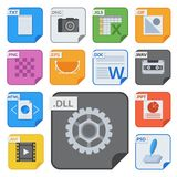 File types vector icons and formats labels file system icons presentation document symbol application software folder. Illustration. Archive, illustration Stock Photos