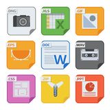 File types vector icons and formats labels file system icons presentation document symbol application software folder. Illustration. Archive, illustration Stock Images