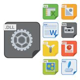 File types vector icons and formats labels file system icons presentation document symbol application software folder. Illustration. Archive, illustration Royalty Free Stock Photos