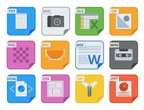 File types vector icons and formats labels file system icons presentation document symbol application software folder. Illustration. Archive, illustration Royalty Free Stock Photography
