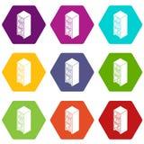 File wardrobe icons set 9 vector. File wardrobe icons 9 set coloful isolated on white for web Royalty Free Stock Image