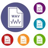 File WAV icons set. In flat circle reb, blue and green color for web Royalty Free Stock Images