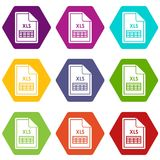 File XLS icon set color hexahedron. File XLS icon set many color hexahedron isolated on white vector illustration Royalty Free Stock Images