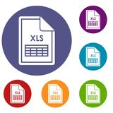 File XLS icons set. In flat circle reb, blue and green color for web Stock Images
