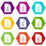 File ZIP icon set color hexahedron. File ZIP icon set many color hexahedron isolated on white vector illustration Royalty Free Stock Images