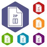 File ZIP icons set. Rhombus in different colors isolated on white background Stock Images