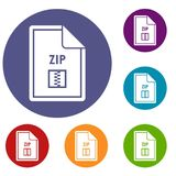 File ZIP icons set Royalty Free Stock Image