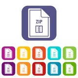 File ZIP icons set. Vector illustration in flat style in colors red, blue, green, and other Stock Images