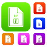 File ZIP set collection. File ZIP set icon in different colors isolated vector illustration. Premium collection Royalty Free Stock Photo