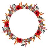 Filed flower wreathe. Wreathe with watercolor flowers stock illustration