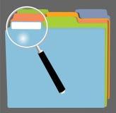 FileFolders en Vergrootglas Stock Afbeeldingen