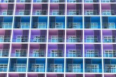 Fileira colorida dos balcões com janelas de vidro imagens de stock