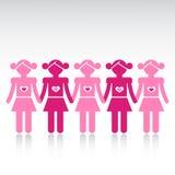 Fileira da amizade das meninas ilustração do vetor