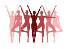 Fileira da aptidão da ioga das mulheres na cor-de-rosa Imagens de Stock Royalty Free