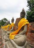 Fileira da Buda em Ayutthaya Fotos de Stock Royalty Free