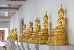 Fileira da estátua dourada de Buddha Fotografia de Stock Royalty Free