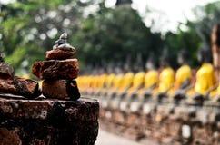 Fileira da imagem de buddha no mongkol de yai chai do wat Fotos de Stock
