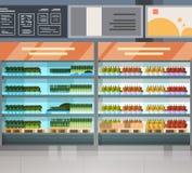 Fileira da mercearia com os produtos frescos no interior moderno do supermercado das prateleiras ilustração royalty free