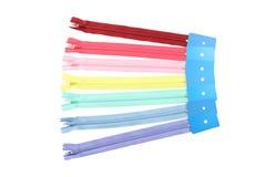 Fileira da propagação múltipla do zipper da cor Fotos de Stock Royalty Free