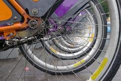 Fileira das bicicletas Fotografia de Stock Royalty Free